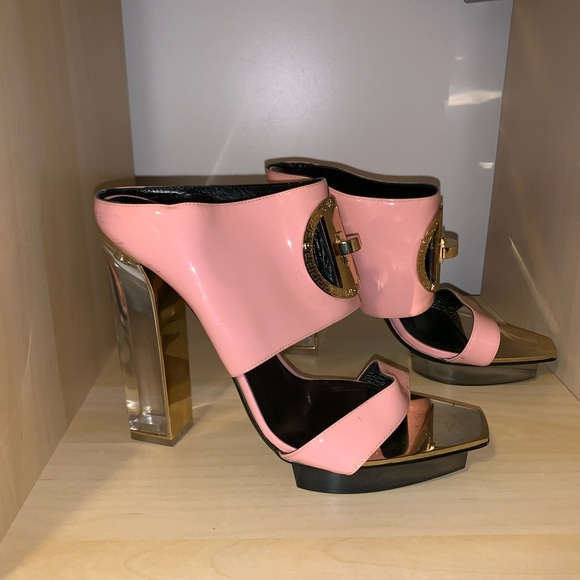 9b2a1624 Versace pink patent leather high heel mule